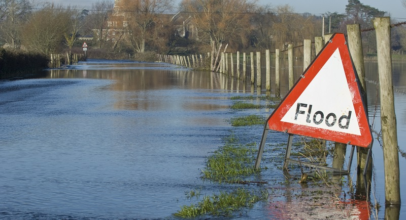 Flooded road and fields