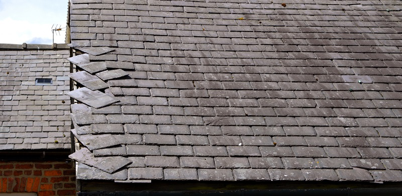 Loose slates on a roof
